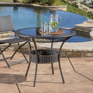 Figi Outdoor 34-inch Wicker Glass Table (ONLY) by Christopher Knight Home