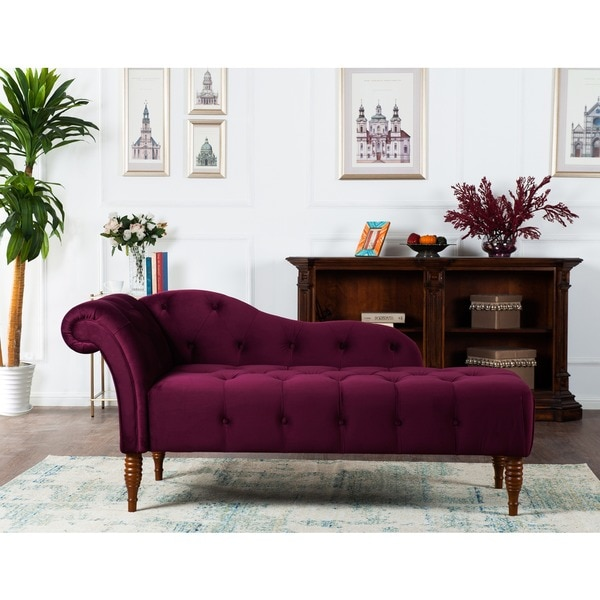 Jennifer taylor samuel tufted chaise lounge free for Burgundy chaise lounge