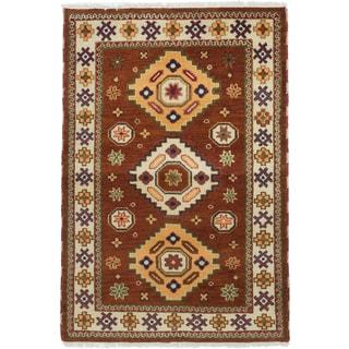 ecarpetgallery Oriental Kazak Brown Wool Rug (4'0 x 5'11)