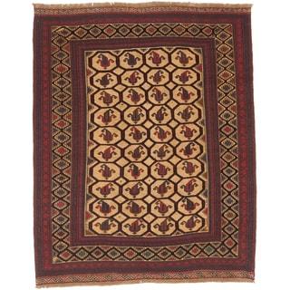 ecarpetgallery Tajik Tribal Beige/ Red Wool Rug (7'0 x 8'8)