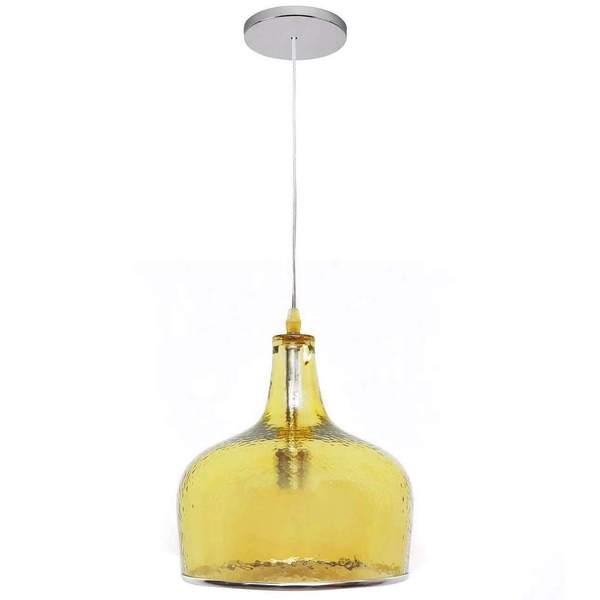 Abbyson Addelyn Amber Glass 1 Light Pendant