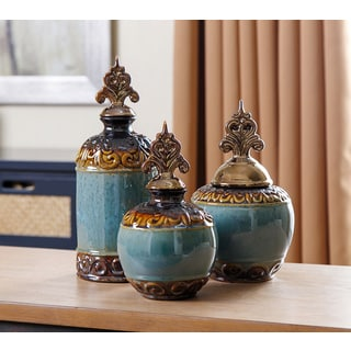 ABBYSON LIVING Indigo Copper Jar Set (Set of 3)