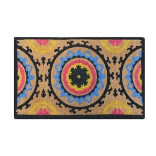 First Impression Handwoven by Artisans Adria Suzani Extra Thick Natural Printed Large Doormat
