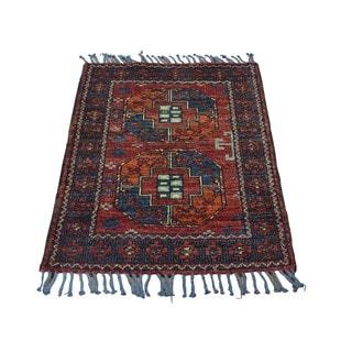 Elephant Feet Design Afghan Ersari Pure Wool Handmade Rug (2'1 x 2'9)