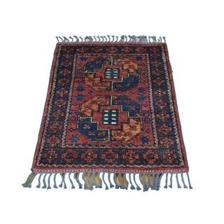 Handmade Elephant Feet Design Afghan Ersari Pure Wool Rug (2'1 x 2'9)