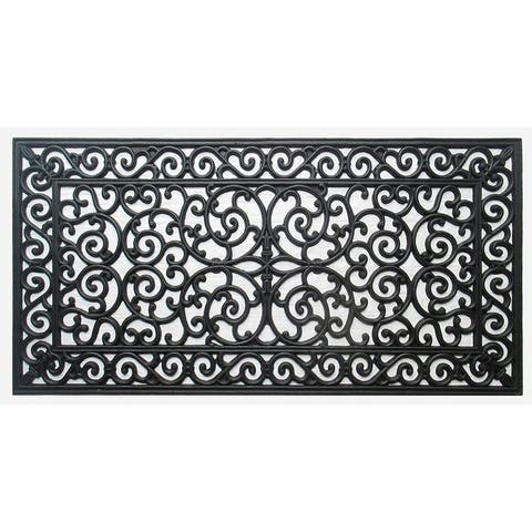 """First Impression Audie Durable And Attractive Rubber Entry Double Doormat (23.62"""" L x 47.25"""" W)"""
