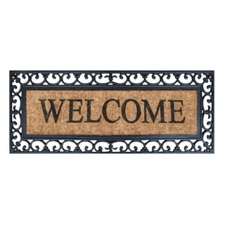 First Impression Rubber and Coir Myla Welcome Entry Double Doormat (1'5 x 3'11)