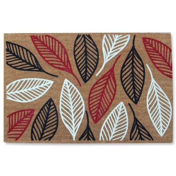 First Impression Vilfred Leaf Coir Fade Resistant Large Flocked Doormat (2' x 3')