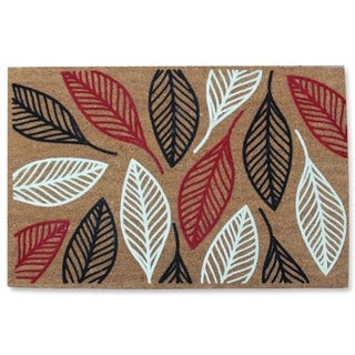 First Impression Vilfred Leaf Coir Fade Resistant Large Flocked Doormat (2' x 3')