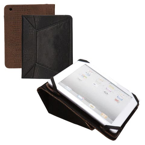 Portable High End Elegant Vintage Universal Croc Leather Tablet / Ipad / E Reader Case with Hand Strap / Stand