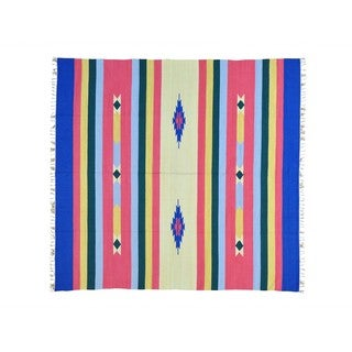 Handmade Killim Flat Weave Squarish Southwest Design Rug (7'10 x 8'3)