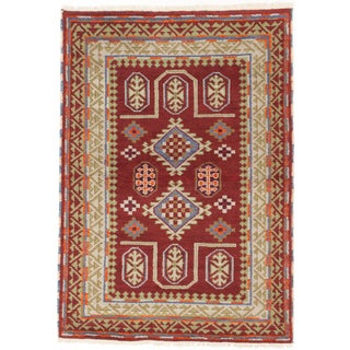 ecarpetgallery Royal Kazak Green/ Red Wool Rug (4'2 x 5'11)