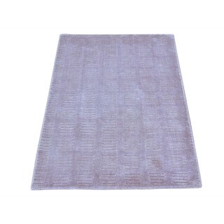Modern Loomed Viscose From Bamboo Purple Oriental Rug (2' x 3')