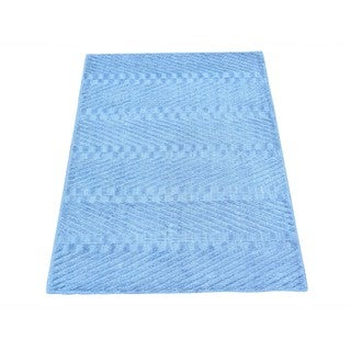 Viscose From Bamboo Modern Loomed Sky Blue Oriental Rug (2' x 3')