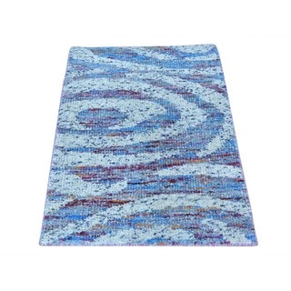 Modern Sari Silk Multicolored Hand-knotted Oriental Rug (2' x 3')