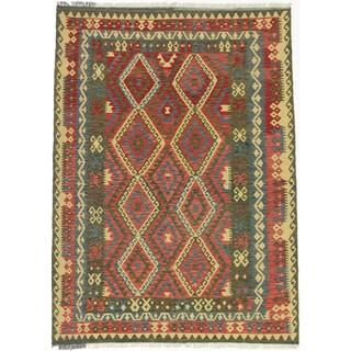 ecarpetgallery Kashkoli Kilim Red/ Yellow Wool Kilim (5'9 x 8'0)