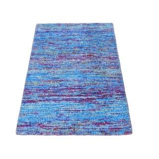 Modern Sari Silk Striped Oriental Rug Zero Pile Handmade (2' x 3')