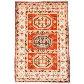 ecarpetgallery Royal Kazak Beige/ Orange Wool Rug (4'6 x 6'11)
