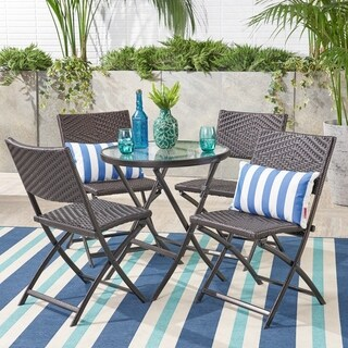 El Paso Outdoor 5-piece Multi-brown Wicker Folding Dining Set by Christopher Knight Home