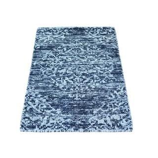 Modern Sari Silk Zero Pile Hand-knotted Oriental Rug (2' x 3')