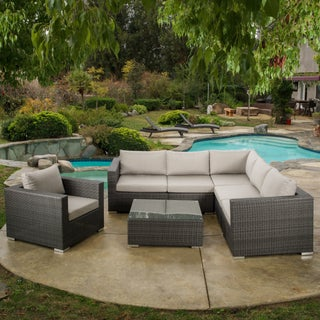 Santa Rosa Outdoor 7-piece Wicker Seating Sectional Set with Sunbrella Cushion by Christopher Knight Home (2 options available)