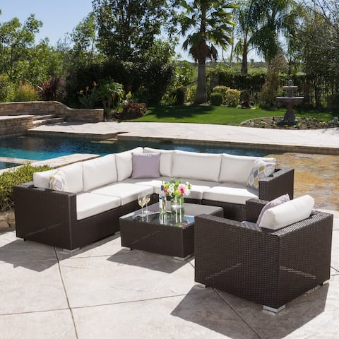 Santa Rosa Outdoor 7 Piece Wicker Seating Sectional Set With Sunbrella Cushion By Christopher Knight