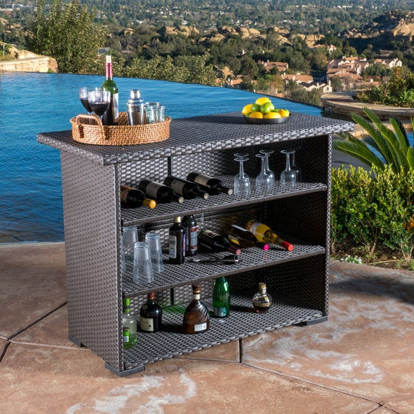 outdoor trinidad wicker bar by christopher knight home free shipping