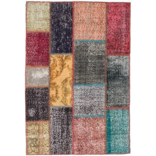 ecarpetgallery Color Transition Patch Gray/ Red Wool Rug (4'0 x 5'10)