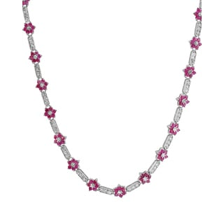 Collette Z Sterling Silver Flower-Shaped Ruby Cubic Zirconia Necklace