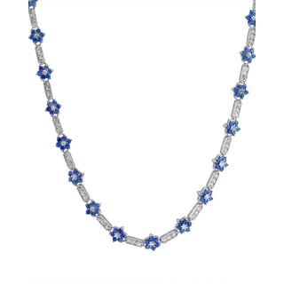 Collette Z Sterling Silver Flower-Shaped Sapphire Cubic Zirconia Necklace