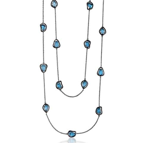 Collette Z Sterling Silver Light Blue Cubic Zirconia Stones Necklace