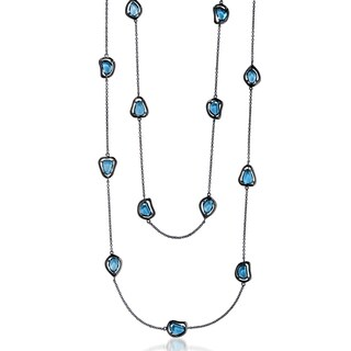 Collette Z Sterling Silver Light Blue Cubic Zirconia Stones Necklace