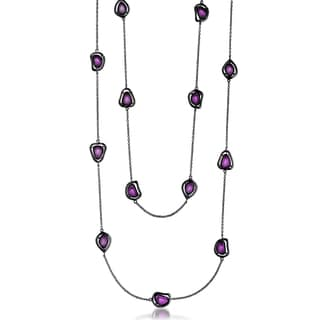 Collette Z Sterling Silver Purple Cubic Zirconia Stones Necklace