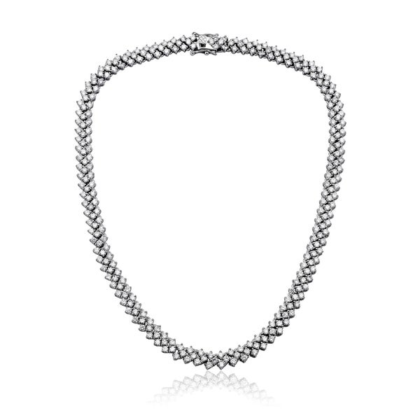 Collette Z Sterling Silver Braided Links Necklace - White. Opens flyout.