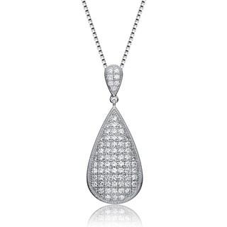 Collette Z Sterling Silver White Cubic Zirconia Teardrop Design Pendant