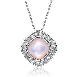 Collette Z Sterling Silver Pink Pearl Cubic Zirconia Oval Pendant