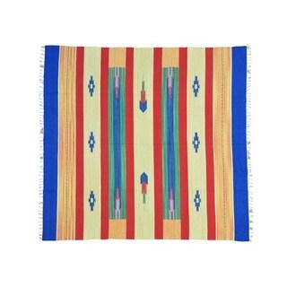 Flat Weave Squarish Handmade Southwest Design Killim Rug (7'10 x 8'4)