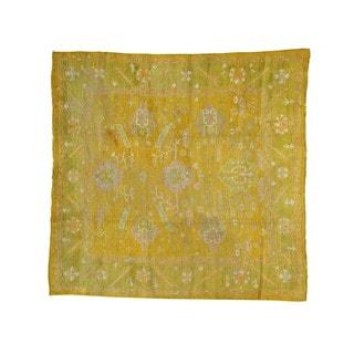 Square Antique Turkish Oushak Exc Cond Handmade Rug (9' x 9'3)