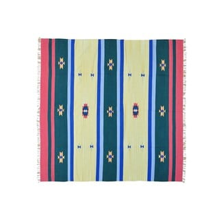 Hand-woven Southwest Design Flat Weave Killim Square Rug (8'1 x 8')