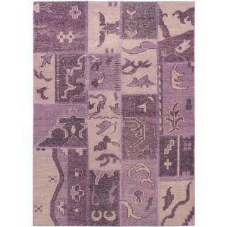 ecarpetgallery Ushak Purple Patch Wool Rug (4'7 x 6'5)