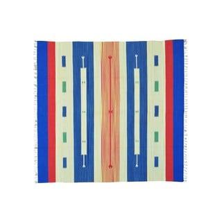 Flat Weave Square Hand-woven Southwest Design Killim Rug (8' x 8'3)