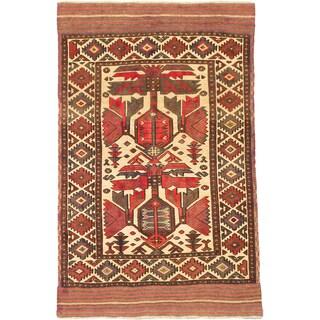 ecarpetgallery Tajik Tribal Beige/ Brown Wool Rug (4'1 x 6'2)