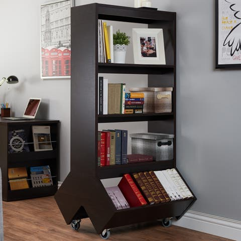Yodell Contemporary Espresso Bookcase/ Room Divider/ Display Cabinet by FOA
