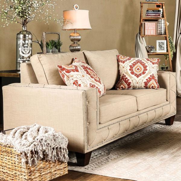 Furniture Of America Gina Modern Beige Fabric Track Arm Loveseat