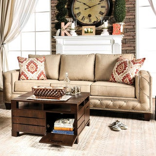 Furniture of America Gina Modern Beige Fabric Track Arm Sofa