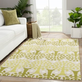 Youth Floral & Leaves Pattern Green/Ivory Polyester Area Rug (3x5)
