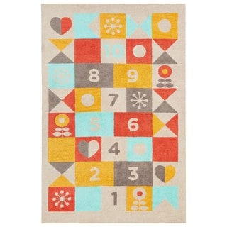 Petit Collage Youth Tribal Pattern Beige/Red Polyester Area Rug (3x5)