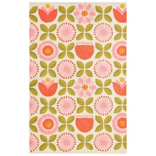 Petit Collage Youth Floral & Leaves Pattern Pink/Green Polyester Area Rug (3x5)