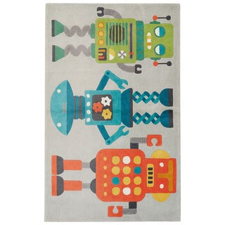 Petit Collage Youth Toy Pattern Gray/Multi Polyester Area Rug (3x5)