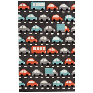 Petit Collage Youth Toy Pattern Dark Gray/Multi Polyester Area Rug (4x6)